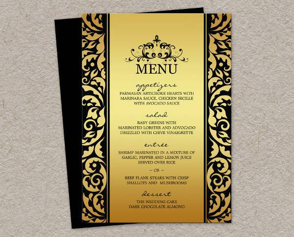 dinner party menu card