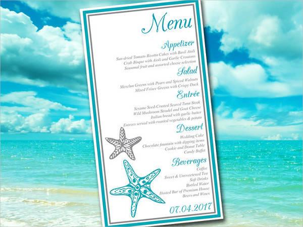 diy beach wedding menu