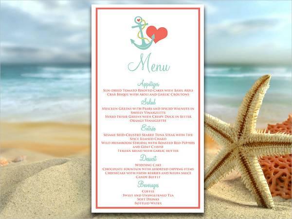 diy beach wedding menu2
