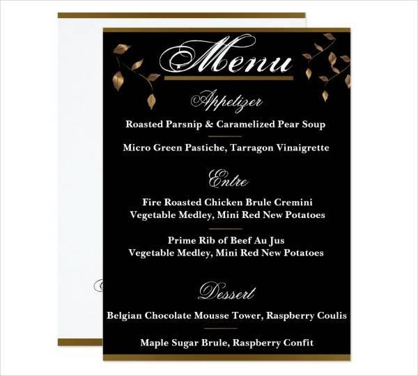diy fall wedding menu