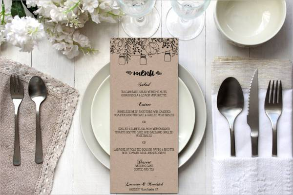 diy rustic wedding menu