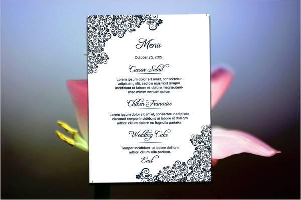 diy wedding menu card