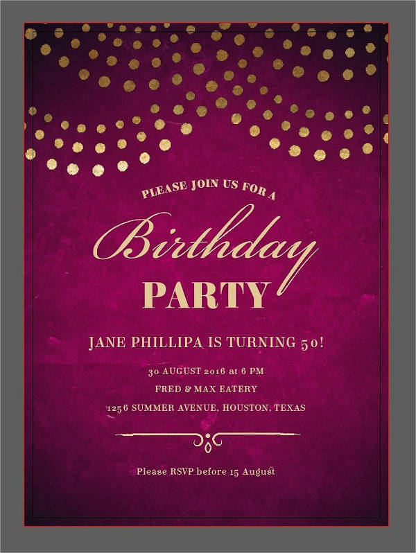 Elegant 50th Birthday Invitation
