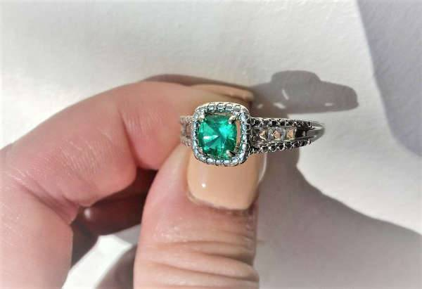 Emerald Cushion Cut Engagement Ring
