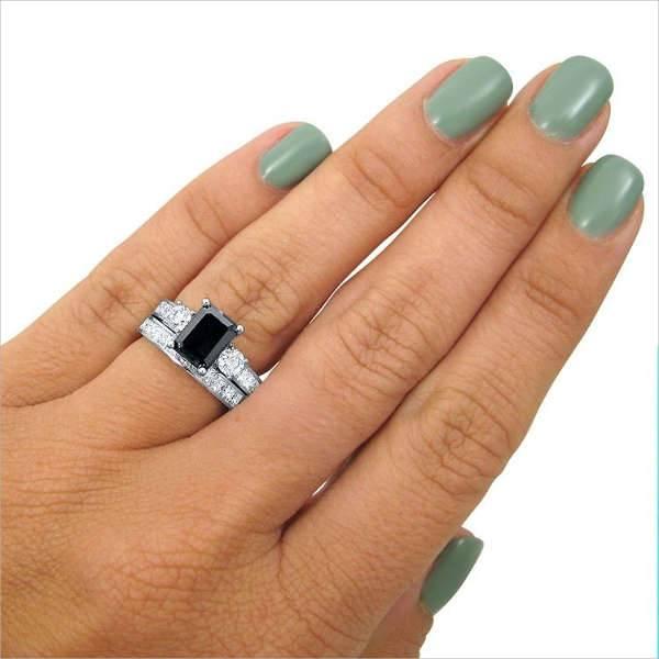emerald cut black engagement ring
