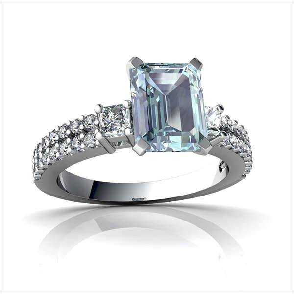 Emerals Cut Aquamarine Engagement Ring