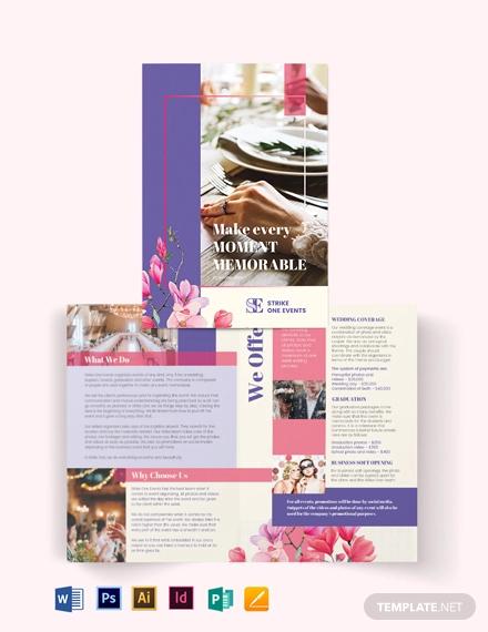 event company bi fold brochure template