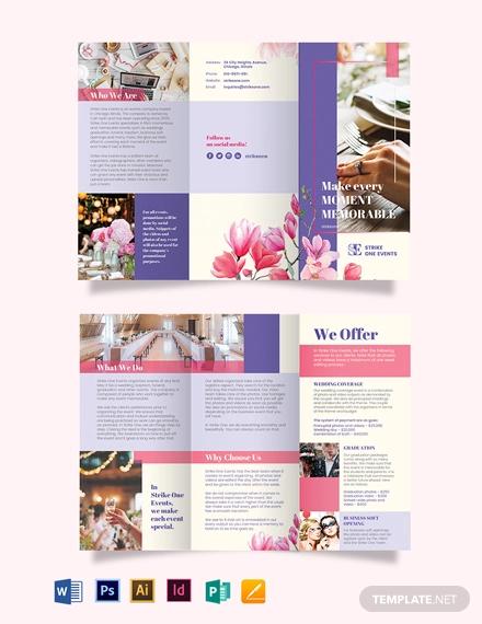 event company tri fold brochure template