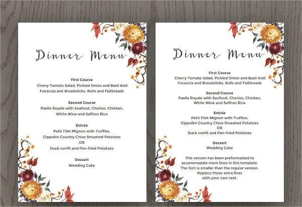 fall wedding dinner menu