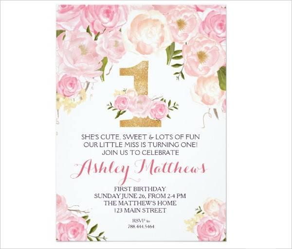 First Birthday Invitation Card