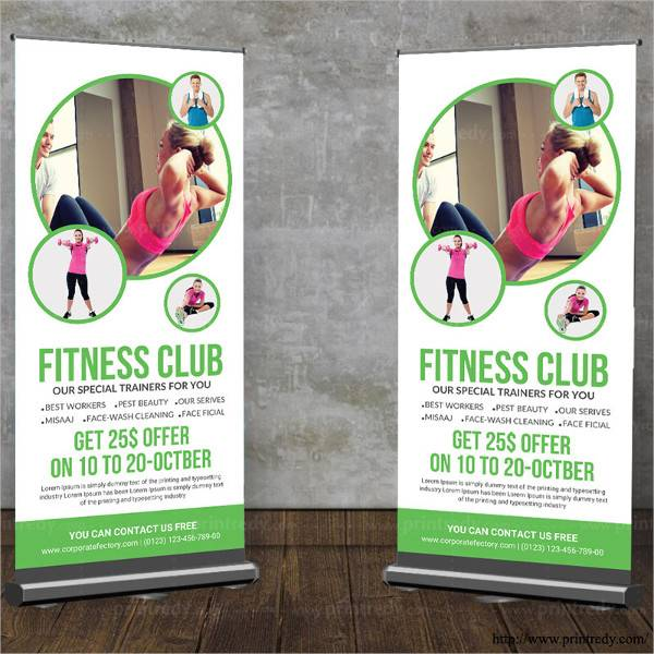 Fitness Club Rollup Banner