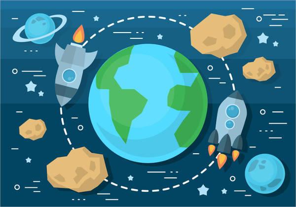 Flat Design Space Travel Poster Set