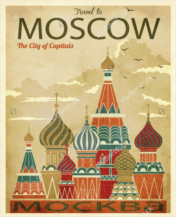 Flat Travel Advertisement Poster