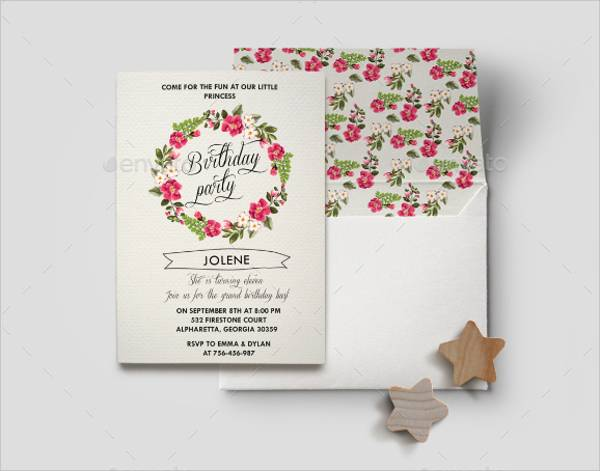 floral birthday invitation card2