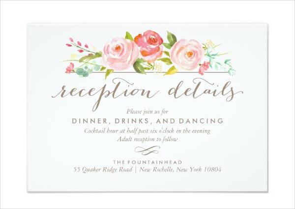 Floral Reception Invitation Card