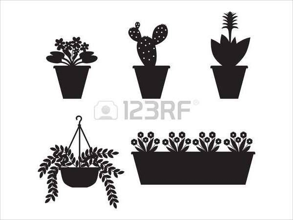 flower pot silhouette