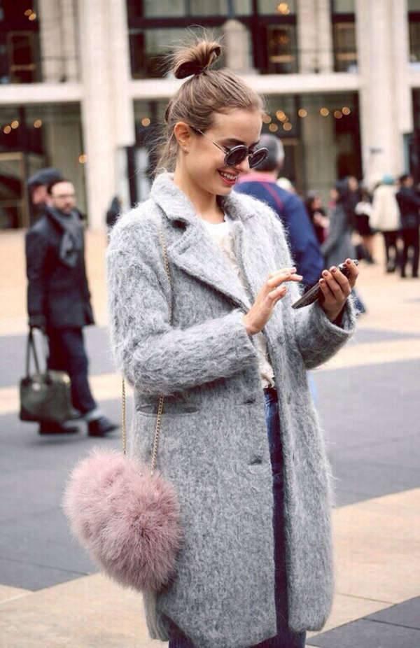 fluffy pink purse