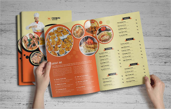 Food Menu Trifold Bifold Brochure