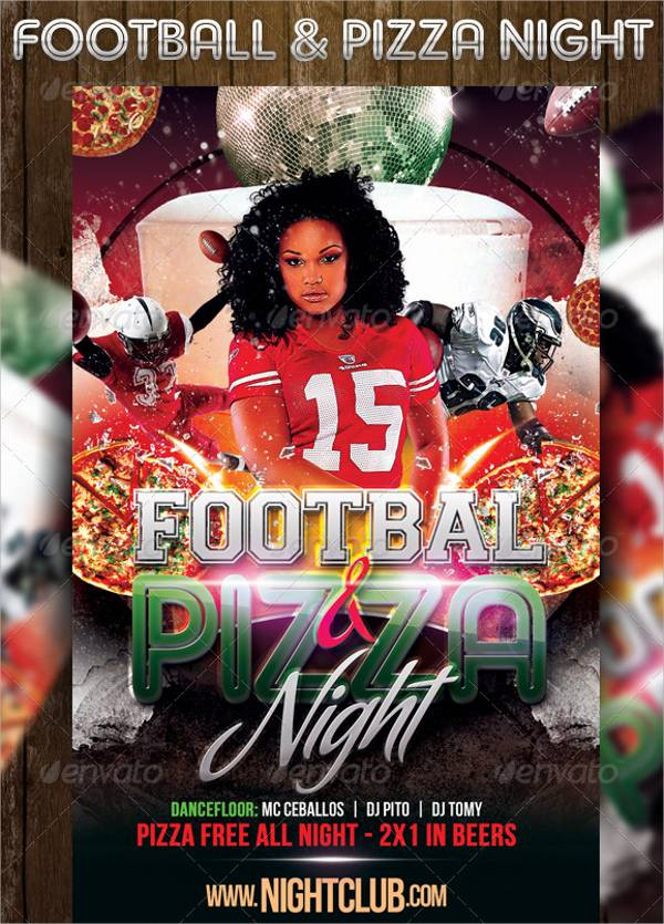 Football & Pizza Nights Party Flyer