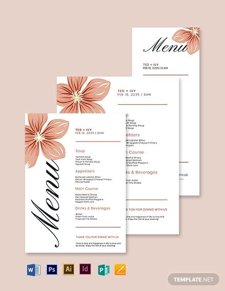 formal wedding menu template