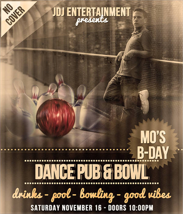 Free Bowling Event Party Flyer