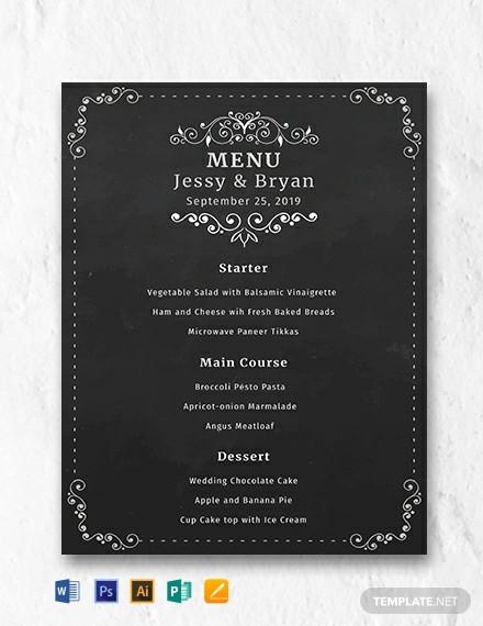 free chalkboard wedding menu template