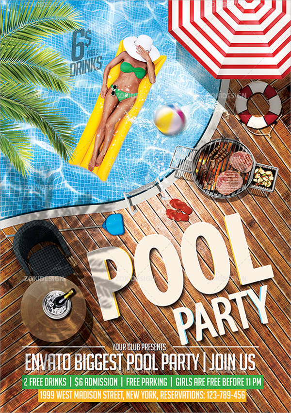 Party flyer designs design trends premium psd vector for Pool design graphic
