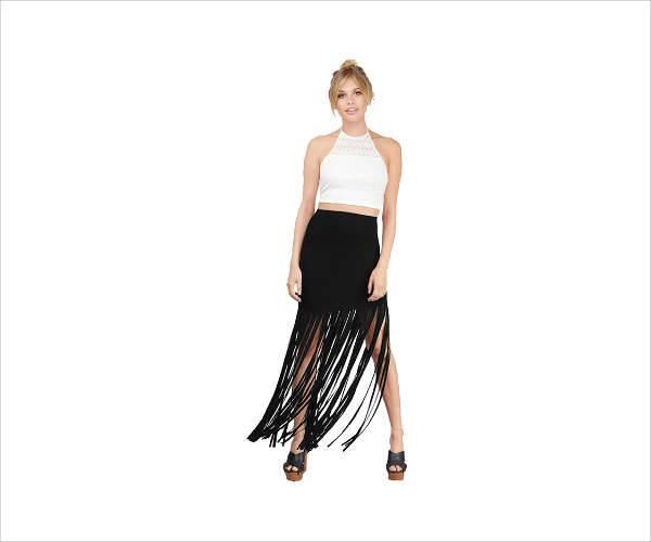 fringe maxi skirt