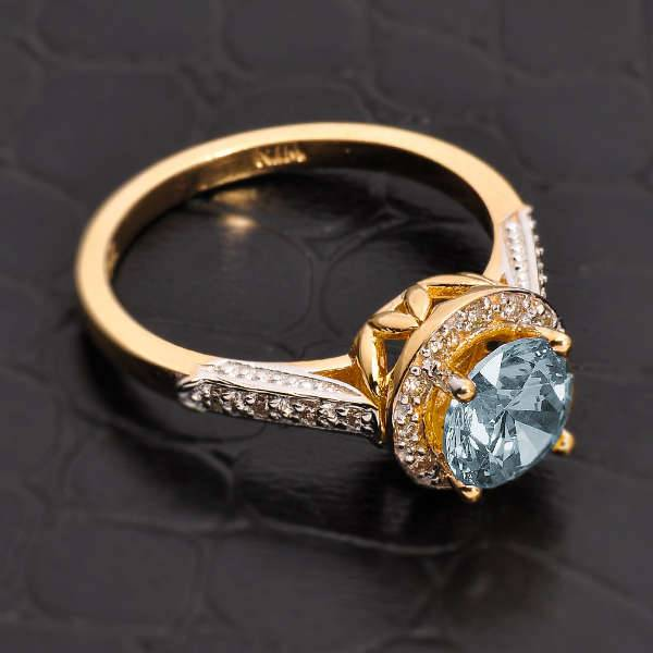 Gold Aquamarine Engagement Ring
