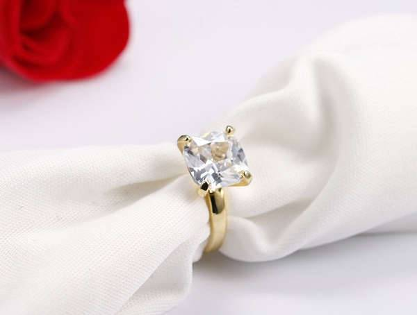 Gold Cushion Cut Engagement Ring