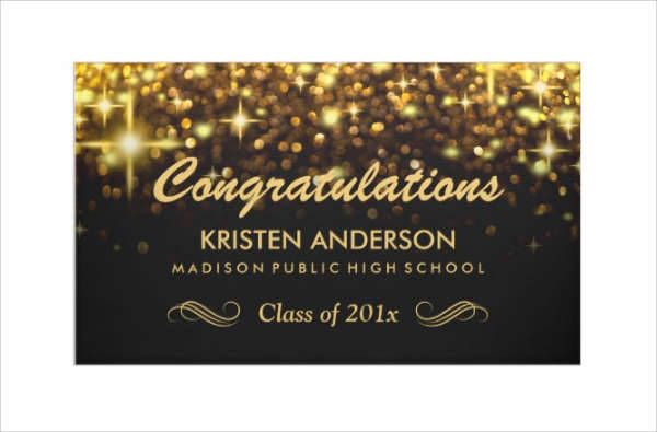 Gold Graduation Party Banner