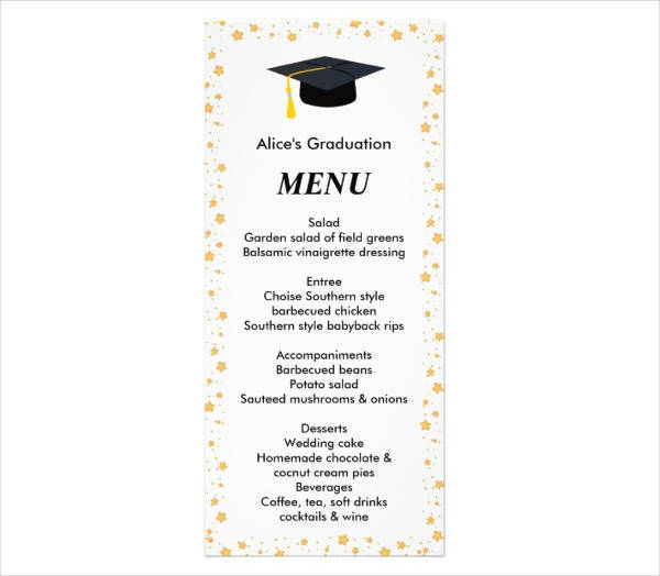 graduation party dinner menu