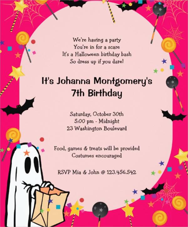 halloween birthday invitation card