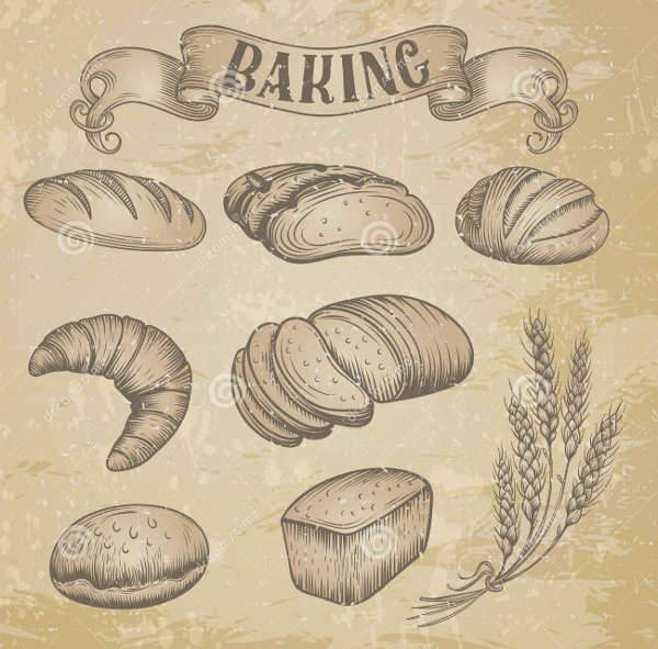 hand drawn bakery icons