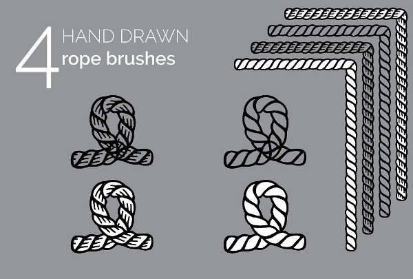 Hand Drawn Vintage Rope Brushes Set
