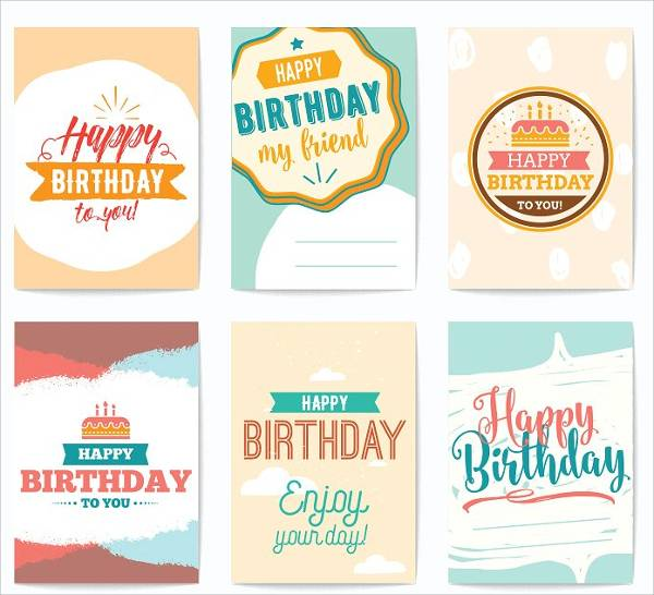 happy birthday greeting card set