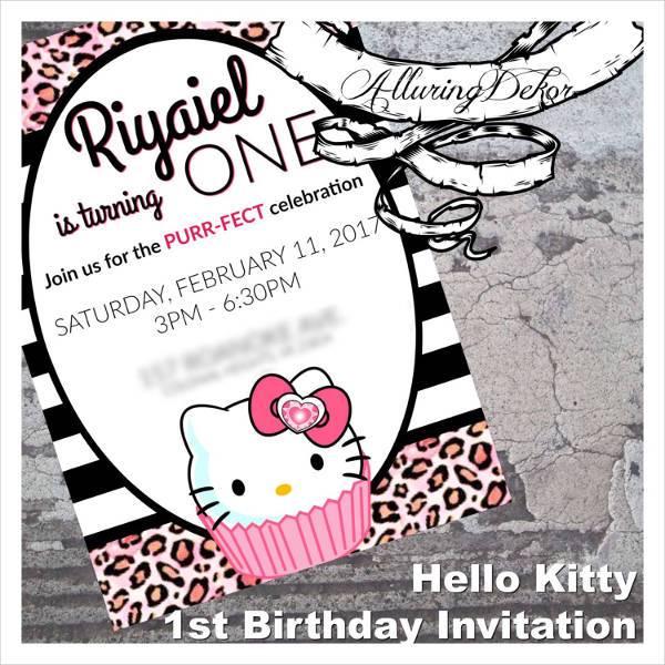 Hello Kitty 1st Birthday Invitation