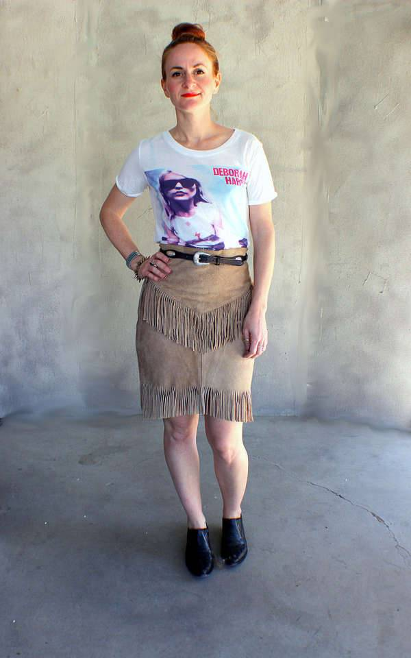 High Waisted Fringe Skirt