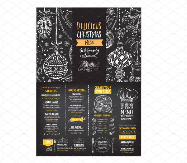 holiday party menu card