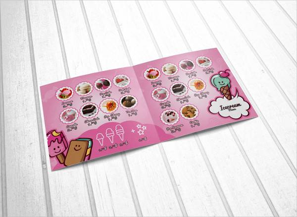 illustrator ice cream brochure menu