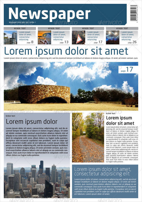 InDesign Newspaper Template in A3 Format