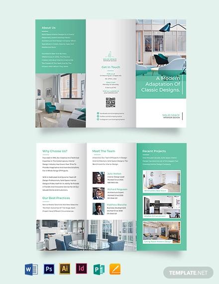 interior design company tri fold brochure template