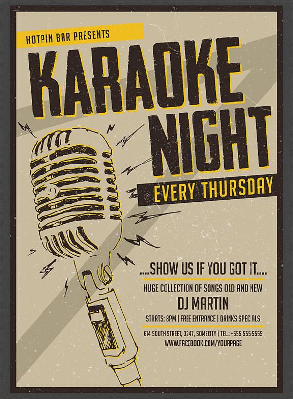 Karaoke Night Vintage Flyer
