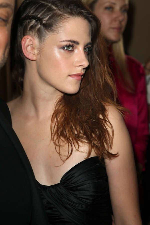 kristen stewart side swept braid hairstyle