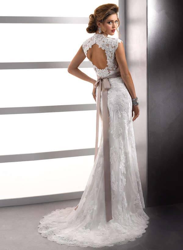 lace backless dress design