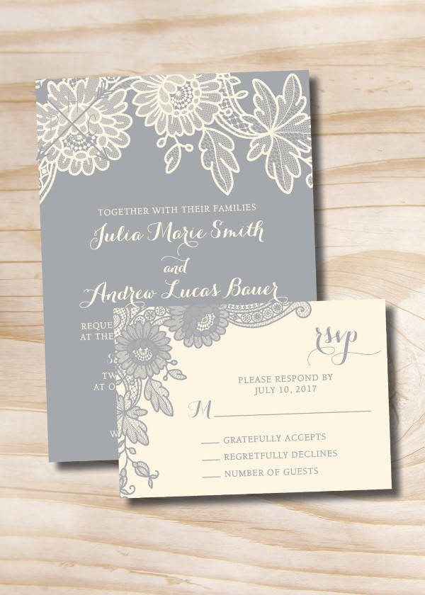 Lace Floral Wedding Invitation