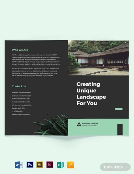 landscape company bi fold brochure template