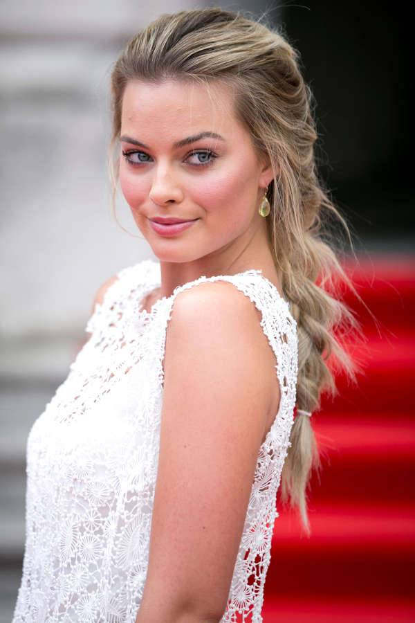 Margot Robbie Messy French Braid Hairstyle