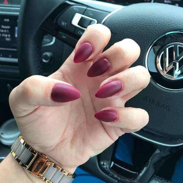 matte pointy nail design