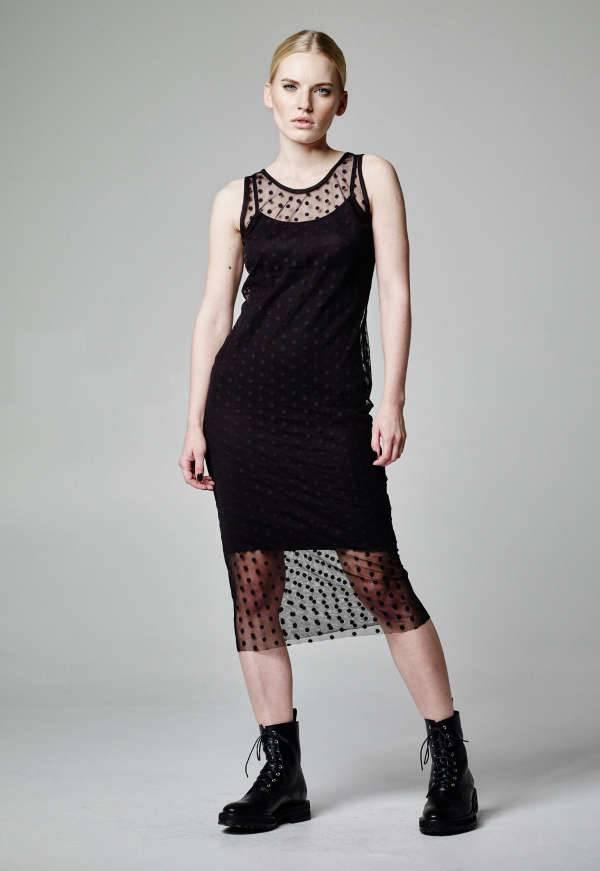 mesh polka dot dress